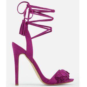 JustFab Tayrey Fuchsia Purple Wraparound Open Toe Shoes 7.5